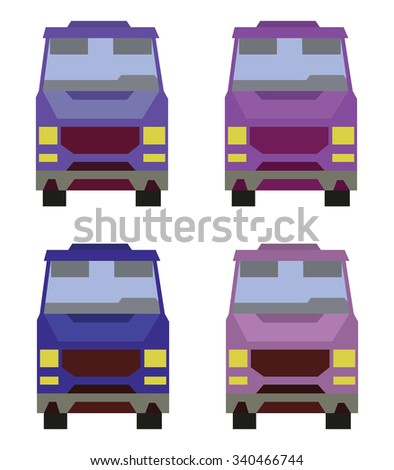 Four Vehicles Front View. Car icons set. Digital vector flat illustration. - stock vector