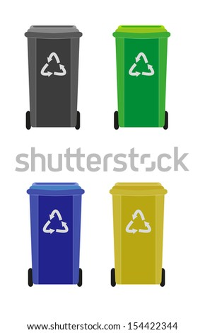 four waste containers with different color for different waste