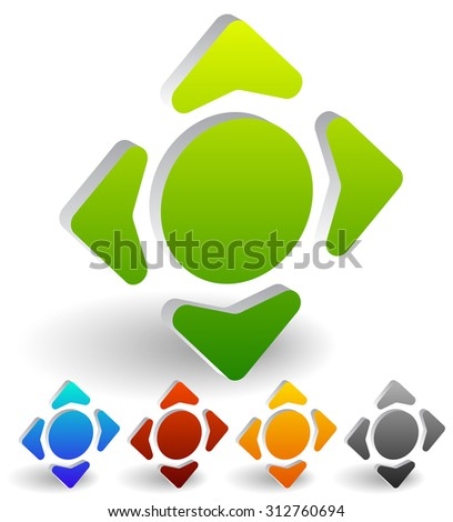 Four way arrow, button with arrows. Vector Illustration. - stock vector