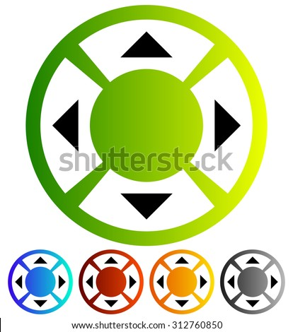 Four way arrow, button with arrows. Vector Illustration. - stock vector