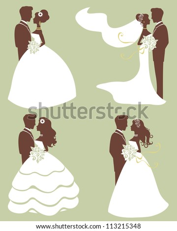 Four wedding couples in silhouette - stock vector