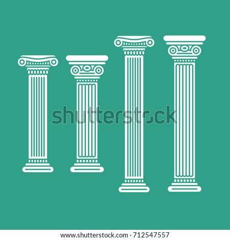 Four white columns on a green background