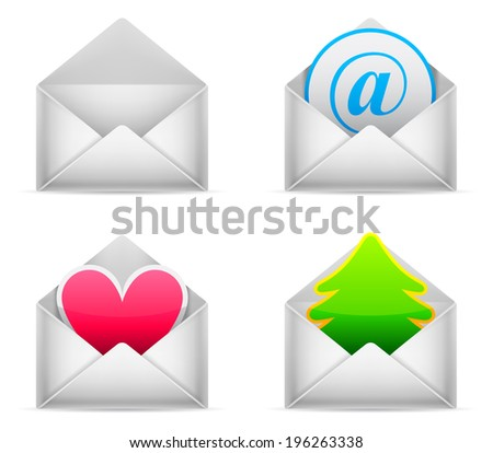 Four white envelopes with different content. - stock vector