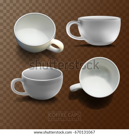 Four white porcelain high detailed realistic coffee cups in different angles on a checkered brown background
