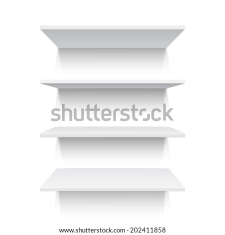 Four white realistic shelves isolated on white background. Vector illustration - stock vector