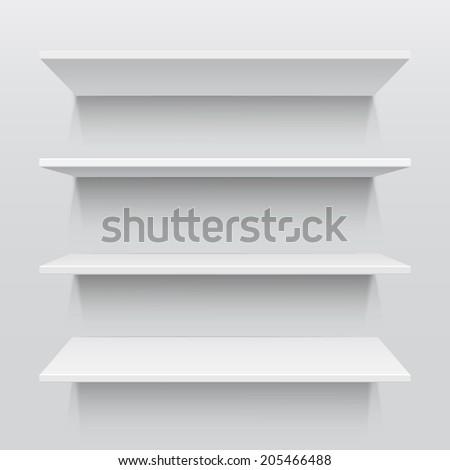 Four white realistic shelves . Vector illustration - stock vector