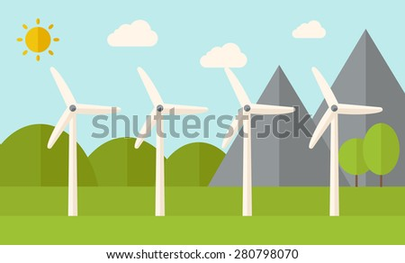Four windmills standing under the heat of the sun. A Contemporary style with pastel palette, soft blue tinted background with desaturated clouds. Vector flat design illustration. Horizontal layout. - stock vector