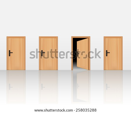 Four wooden doors on the wall, one open and the three others closed. Vector art image illustration, realistic design, eps10 - stock vector