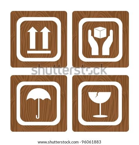 four wooden sign square isolated over white background. vector - stock vector