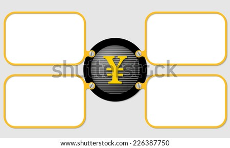 four yellow frame for text with yen symbol