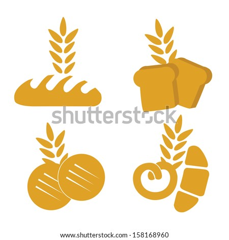 four yellow wheat products like bread, cookies and some croissants