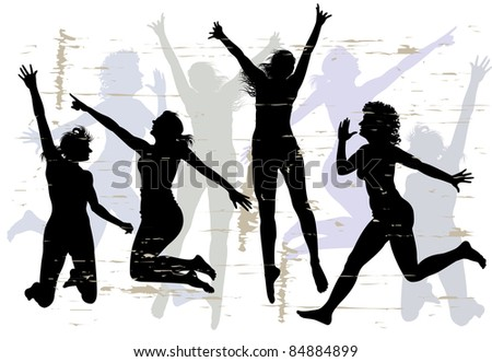 Four young slender womans jumping with joy. Silhouette. - stock vector