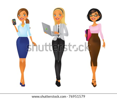 Four young women in business outfit with phone, laptop and folder - stock vector