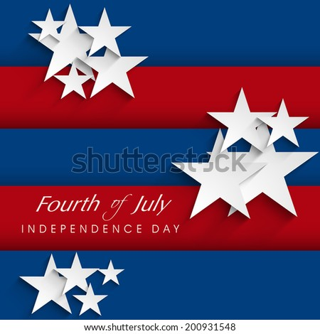 Fourth of July, American Independence Day celebrations concept with stylish stars on blue and red stripes.  - stock vector
