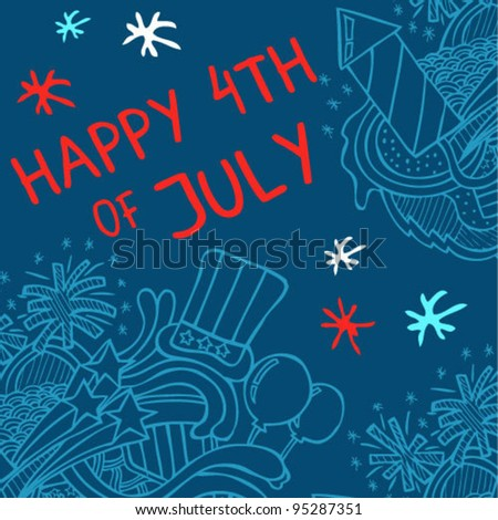 Fourth of July Card - stock vector