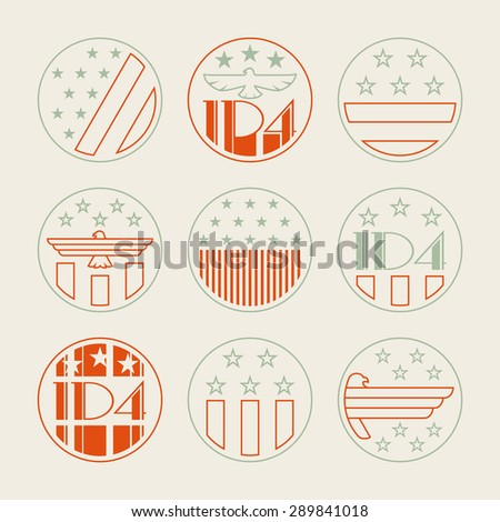 Fourth of July Design Collection, 4th of July, set of vintage linear style Independence Day Designs - stock vector