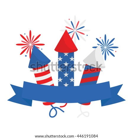 Fourth Of July Firecracker With Ribbon Label