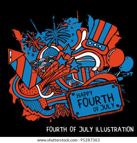 Fourth of July illustration - stock vector
