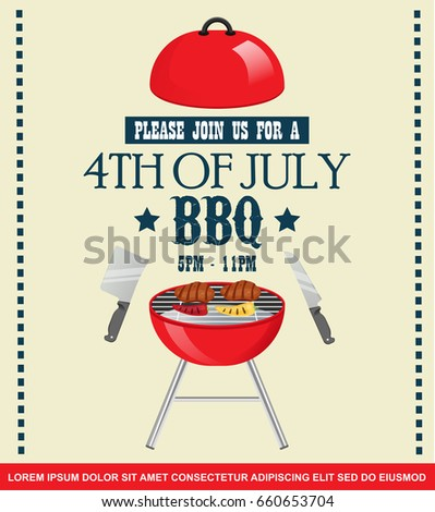 Happy Independence Day America Invitation Template Stock
