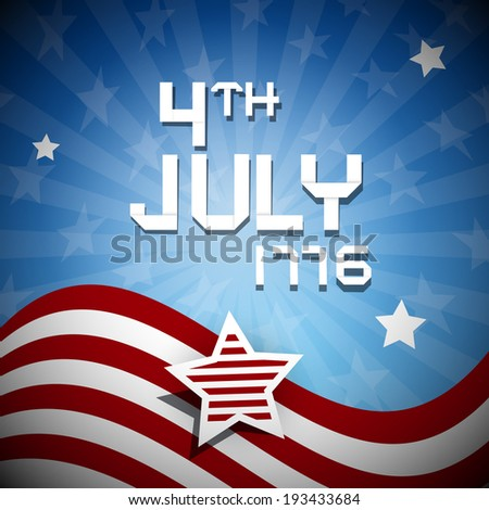 Fourth of July 1776 Independence Day Illustration - stock vector