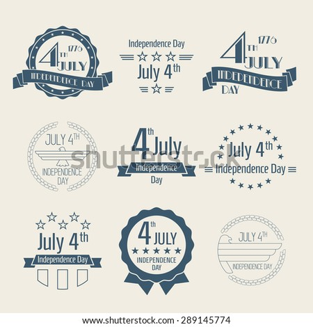 Fourth of July, Independence Day Labels Collection, set of dark blue colored designs on light background - stock vector