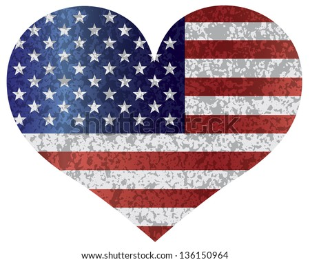 Fourth of July USA Flag in Heart Shape with Texture Vector Illustration - stock vector