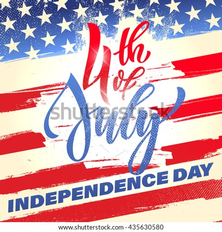 Fourth of July USA Independence Day greeting card. 4 July America celebration wallpaper. Independence national holiday US flag card design. - stock vector