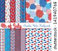Fourth of July Vector Seamless Tileable Backgrounds - stock vector