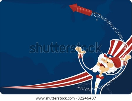 fourth of July with uncle sam - stock vector