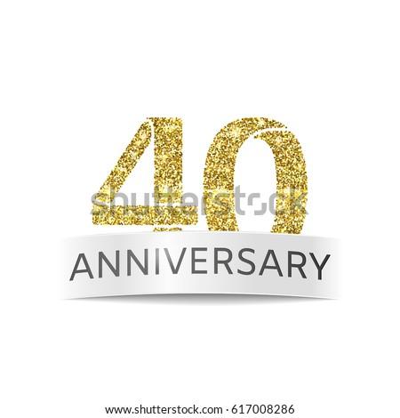 Fourty Year Anniversary Flag 40th Birthday Stock Vector 617008286