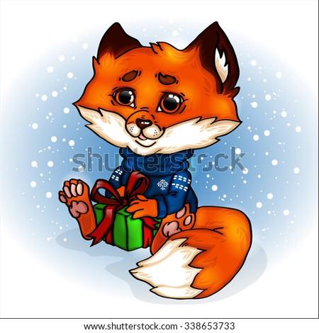 fox cartoon cute new year christmas stock vector royalty free