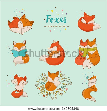 Fox characters, cute, lovely illustrations  - stock vector