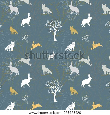Fox chasing hare in the woods flat style vector seamless pattern/background made in contrast manner - stock vector