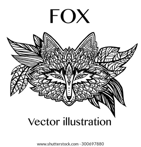 Fox head tattoo sketch. Native american style. Ethnic animals vector illustration. Ethnic fox / african / indian / totem - stock vector
