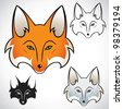 Fox head - vector illustration - stock vector