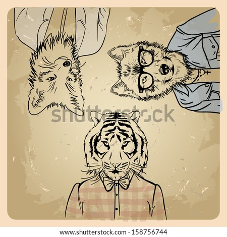 fox hipster in a jacket wolf hipster in a jacket  Tiger hipster in a shirt on a vintage background  - stock vector