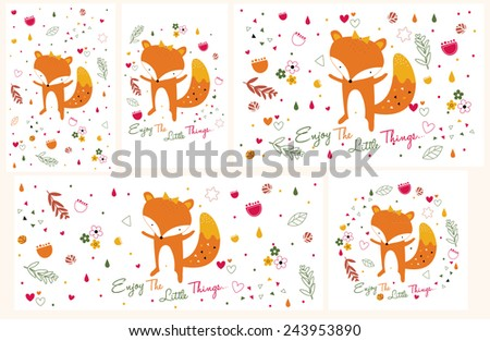 fox illustration set (horizontal and vertical in size) - stock vector