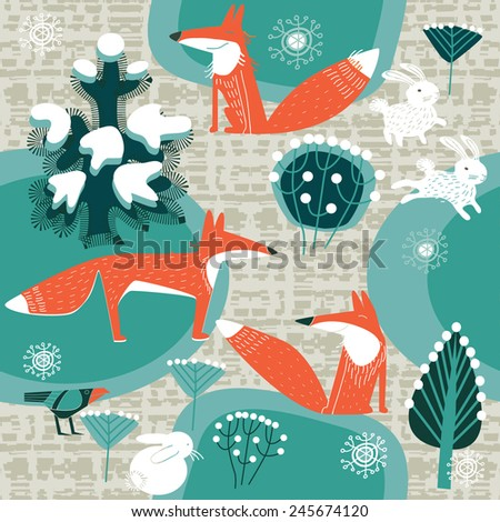 fox in winter forest - stock vector