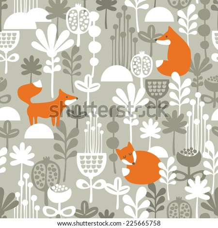 Fox in winter forest seamless pattern. Vector illustration. - stock vector