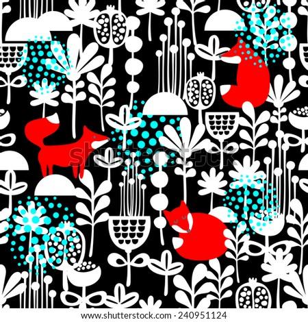 Fox in winter forest seamless pattern. Vector illustration on dark background. - stock vector