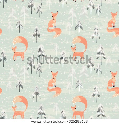 Fox in winter pine forest. Seamless pattern with hand drawn design for Christmas and New Year greeting cards, fabric, wrapping paper, invitation, stationery.  - stock vector