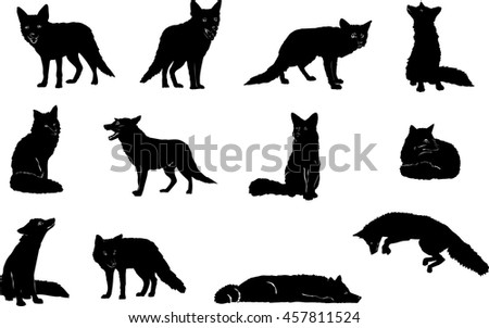 Fox, jumping, vector, silhouette, set