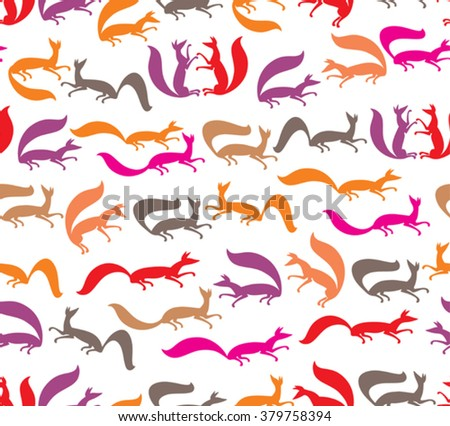 Fox moving. Animals seamless pattern. - stock vector