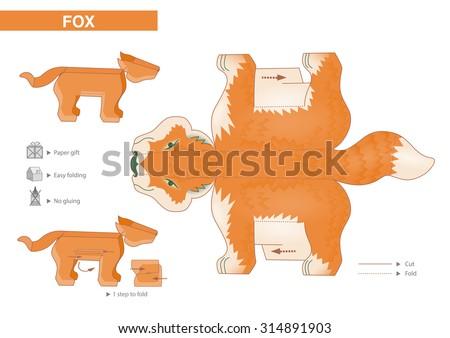 fox paper model cutouts children small stock vector 314891903