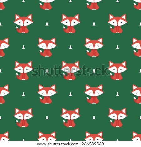 fox pattern - stock vector