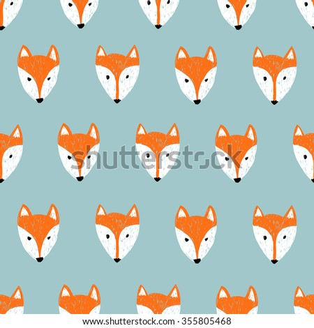 Fox pattern. Seamless background with doodle fox heads.  - stock vector