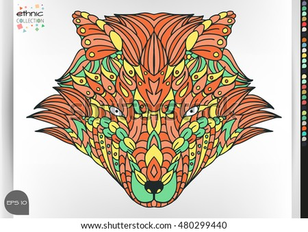 Fox portrait . Animal patterns with hand-drawn doodle waves and lines. Vector illustration in bright colors.