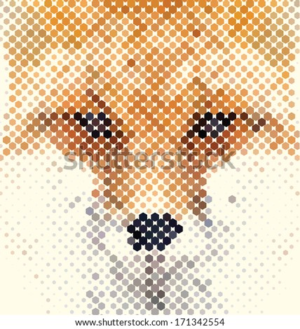 Fox portrait made of geometrical shapes - stock vector