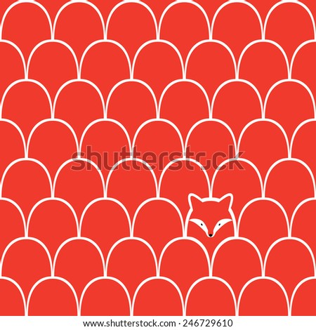 Fox seamless cartoon pattern - stock vector