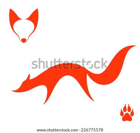 Fox. Set - stock vector